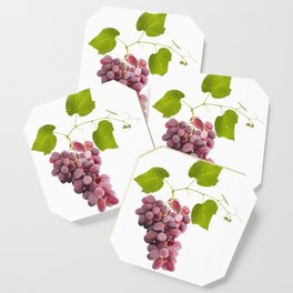 Ripe red grape fruits with leaves isolated on white.Digital painting. Coaster