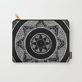 Flower Star Mandala - Black White Carry-All Pouch