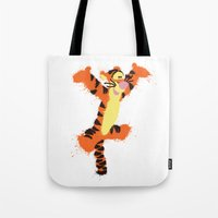 tigger Tote Bags featuring Tigger by DanielBergerDesign