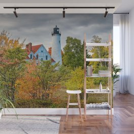 MICHIGAN UPPER PENINSULA LIGHTHOUSE AUTUMN GREAT LAKES Wall Mural
