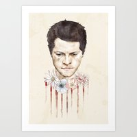 castiel Art Prints featuring Castiel by mycolour