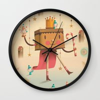 king Wall Clocks featuring KIng by Cristian Turdera