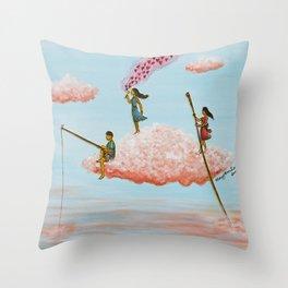 3 children sailing on a cloud. Throw Pillow