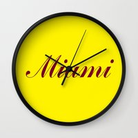 miami Wall Clocks featuring Miami by AE Interiors