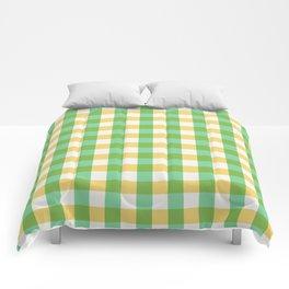 mint yellow plaid Comforters