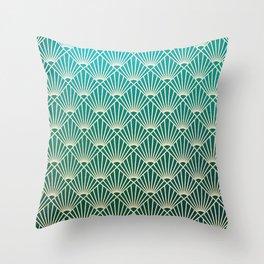 Teal golden Art Deco pattern Throw Pillow