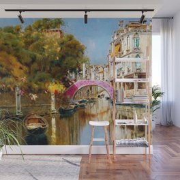 'A Sunlit Canal in Venice' landscape painting by Antonio Maria de Reyna Wall Mural