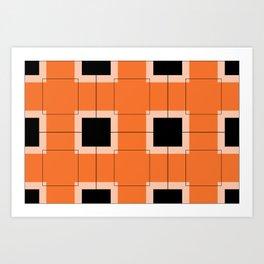 White Hairline Squares in Orange Art Print