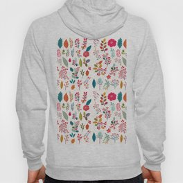 Colorful fall orange pink ivory holly berries floral Hoody