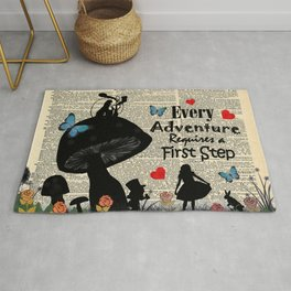 Every Adventure Requires a First Step - Alice In Wonderland Rug