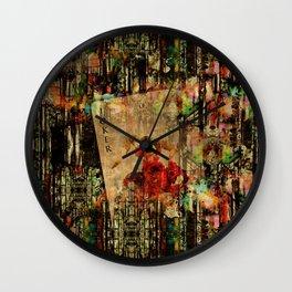 Abstract Vintage Joker card  Digital Art Wall Clock