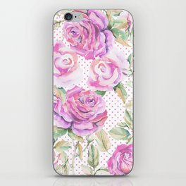 Watercolor hand painted pink lavender roses polka dots iPhone Skin