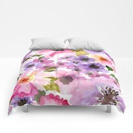 Pink Purple Watercolor Flowers Comforters