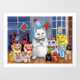 Lucky Cats Art Print