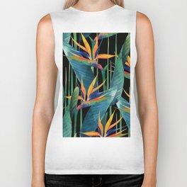 Watercolor Painting Tropical Bird of Paradise Plants large Biker Tank