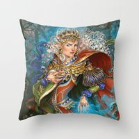 berserk Throw Pillows featuring Elven sorceress by DiMary