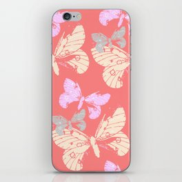 Butterflies on Coral Red iPhone Skin