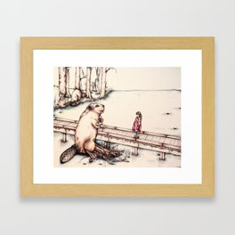 The Girl & The Beaver (or, Is It Alright if I Take Notes?) Framed Art Print
