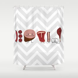 Happy meat family protein steak eggs ham meatballs bacon Shower Curtain