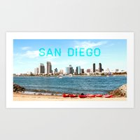 san diego Art Prints featuring San Diego  by Natasha Alexandra Englehardt