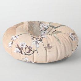Cherry Tree And Two Birds Floor Pillow