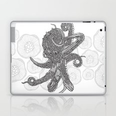 Octopus Bloom black and white Laptop & iPad Skin
