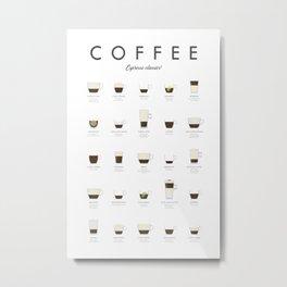 Coffee Chart - Espresso Classics Metal Print