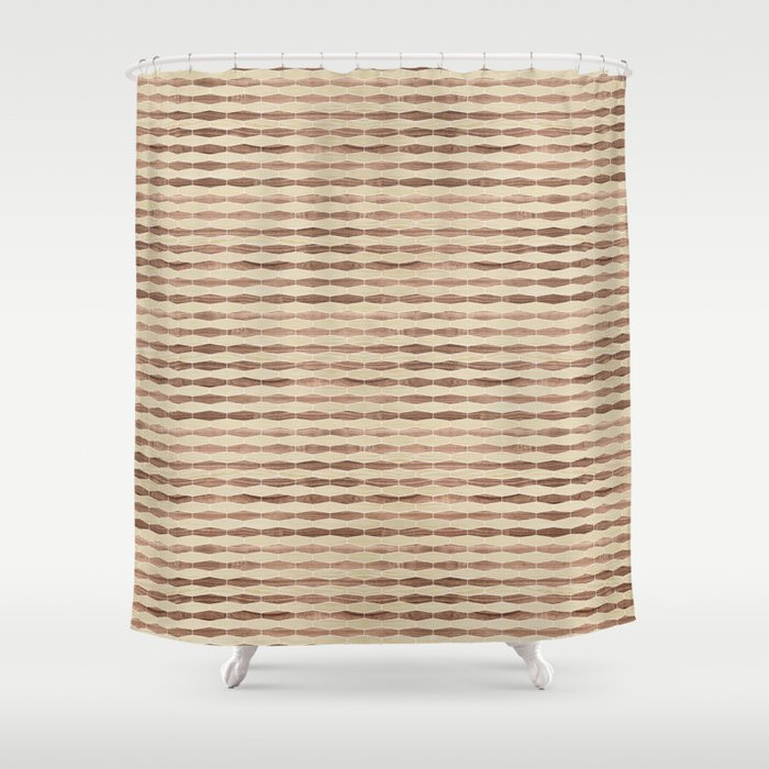 weave white oak and walnut Shower Curtain