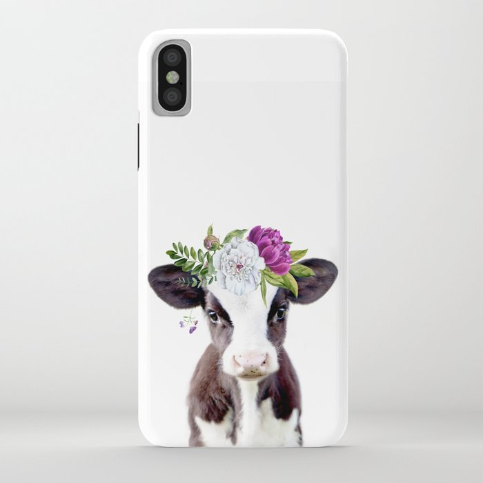 baby cow with flower crown iphone case