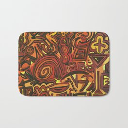 Orange Symbols Bath Mat
