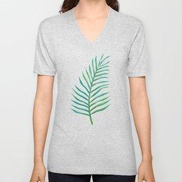 Palm Leaves_Bg White Unisex V-Neck