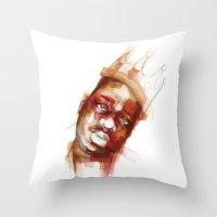 biggie Throw Pillows featuring Biggie  by Allison Kunath