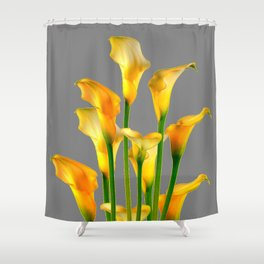 DECORATIVE GOLDEN CALLA LILY FLOWERS ON GREY ART Shower Curtain