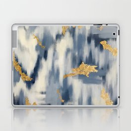 Blue and Gold Ikat Pattern Abstract Laptop & iPad Skin