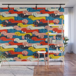 COLORED DOGS PATTERN 2 Wall Mural