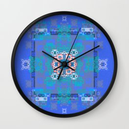 Indigo Healing Boho Circuitry Techno Mandala Wall Clock