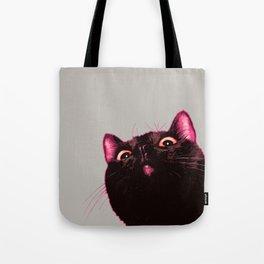 Curious cat, Black cat, Pop Art cat. Tote Bag