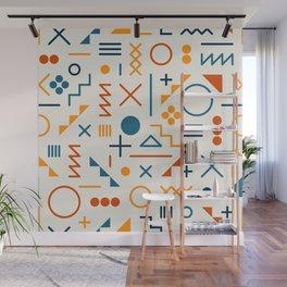 Retro Jumble Geometric Line Shapes Pattern Abstract Print Design Wall Mural