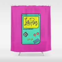 gameboy Shower Curtains featuring Let's Play GameBoy by Chelsea Herrick
