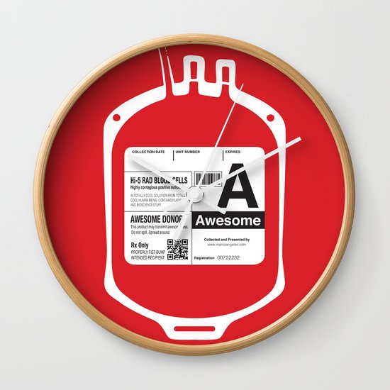My Blood Type is A, for Awesome! Wall Clock
