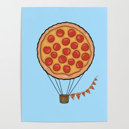 Pizza Hot Air Balloon Poster