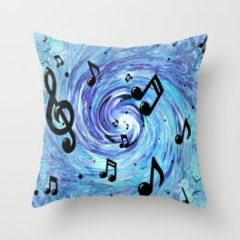 Musical Blue Throw Pillow
