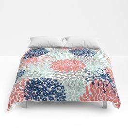 Floral Print - Coral Pink, Pale Aqua Blue, Gray, Navy Comforters