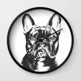 Black And White French Bulldog Sketch Wall Clock