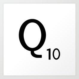 Letter Q - Custom Scrabble Letter Tile Art - Scrabble Q Initial Art Print
