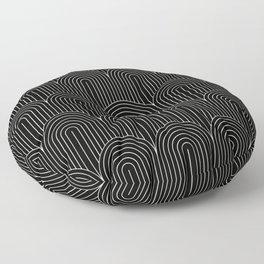 Art Deco Arch Pattern V Black & White Floor Pillow