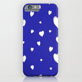 Hand-Drawn Hearts (White & Navy Blue Pattern) iPhone Case