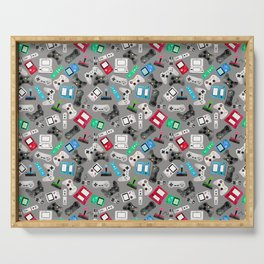 Watercolor Gaming Video Game Devices Pattern Gray Serving Tray