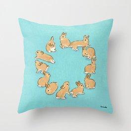 12 rabbits Throw Pillow