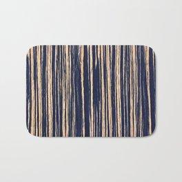 Vertical Scratches on Dark Blue Metal Texture Bath Mat